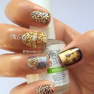 Golden Animal Glamour nail art by Miriam