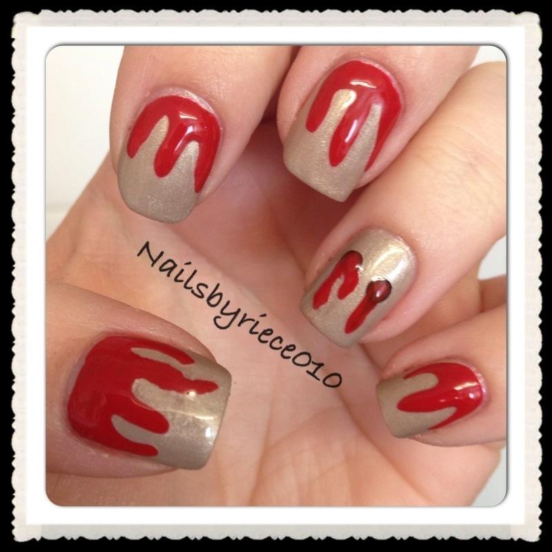 Vampire Bite nail art by Riece