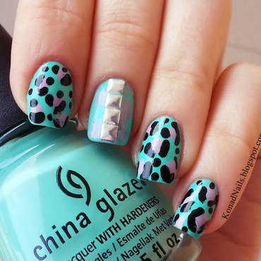 Watercolor & Animal print nail art nail art by KonadAddict
