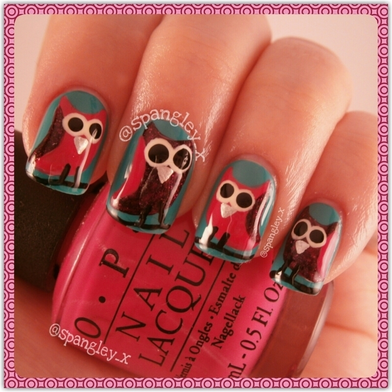 Whooooot Wooo Owls nail art by Nicole Louise