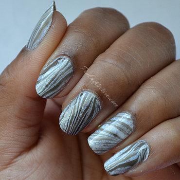 Black and Glitter Water Marble nail art by Pinkaddictive
