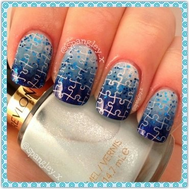 Autism Awareness April nail art by Nicole Louise