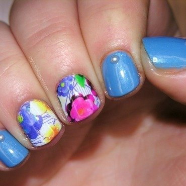 Floral water decals nail art by Agni