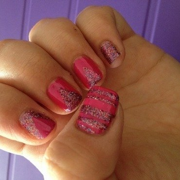 Glitter and Stripes nail art by Amanda