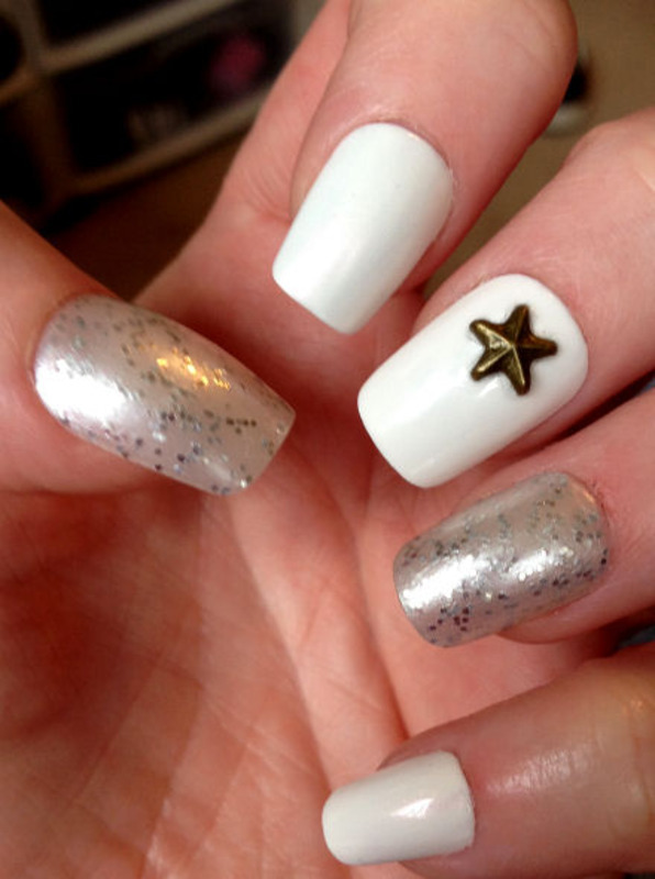 White, white and white! nail art by Celtess
