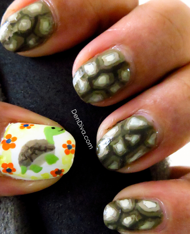 Turtle Shell Nail Art nail art by Madhu DenDiva