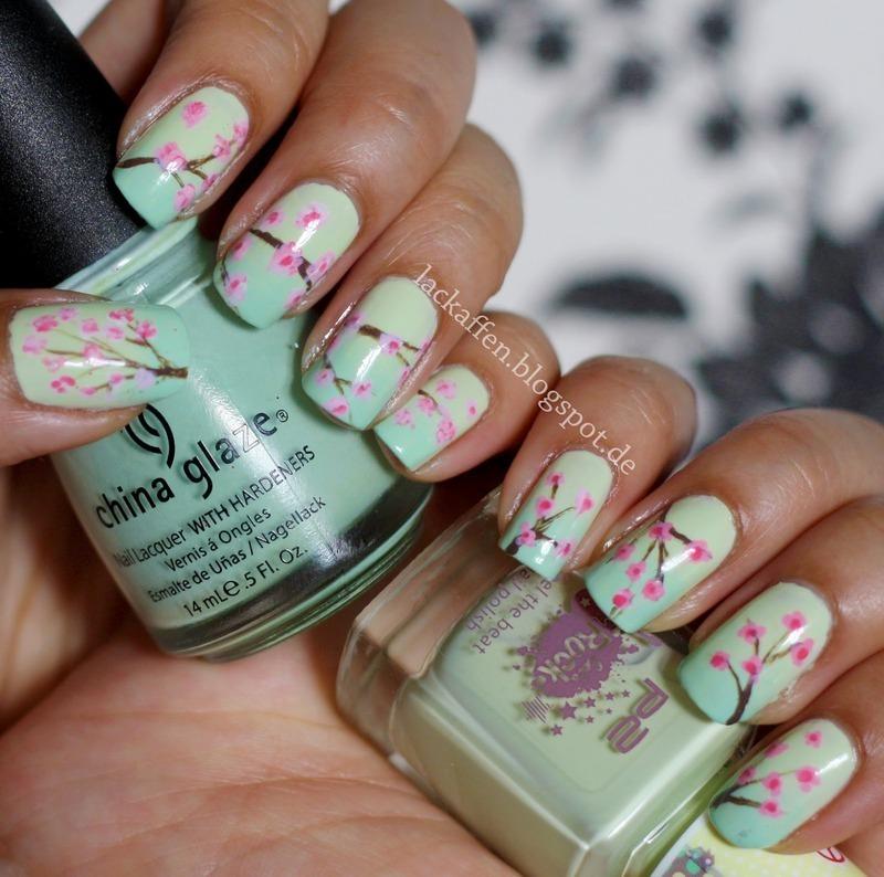 Cherry Blossoms nail art by Tartelette
