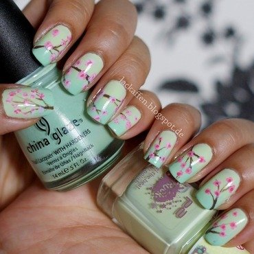 Cherry Blossoms nail art by Tartelette