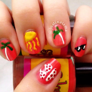 Coconut trees, sunglasses and polka dot bikini nail art by ℐustine