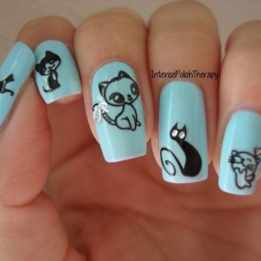 Kitty Manicure nail art by IntensePolishTherapy Anita