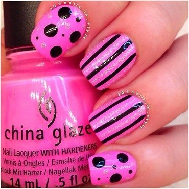 Pink, Sparkle, Stripes and PolkaDots nail art by Nails_In_Style