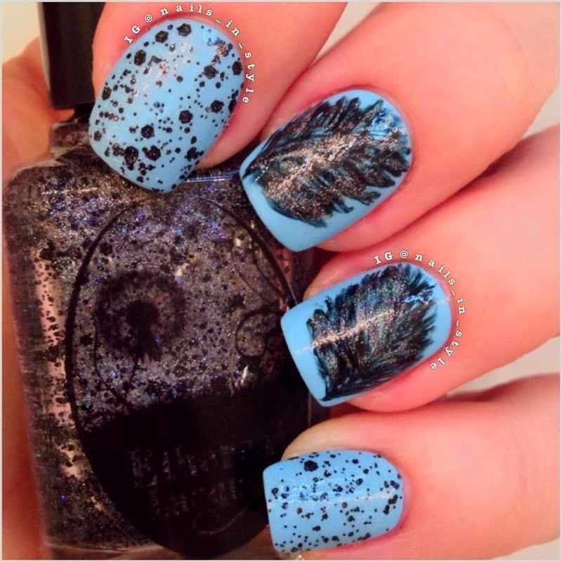 Black Sparkle on Blue nail art by Nails_In_Style