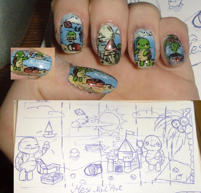 Mesi turtle nail art nail art by MesiaszCiszy