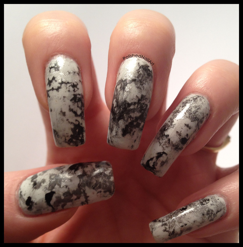 Stone water marble nail art by Carrie
