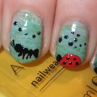 Bugs on a walk nail art by Iulia