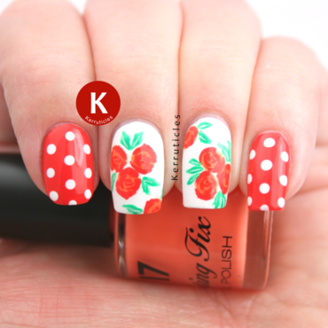 Orange roses and polka dots nail art by Claire Kerr