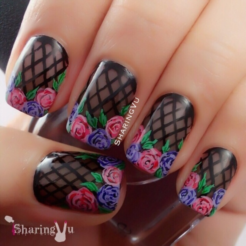 💕💜Black Sheer Tints with Roses💜💕 nail art by SharingVu
