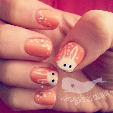 Easter bunny nail art by Cachalot
