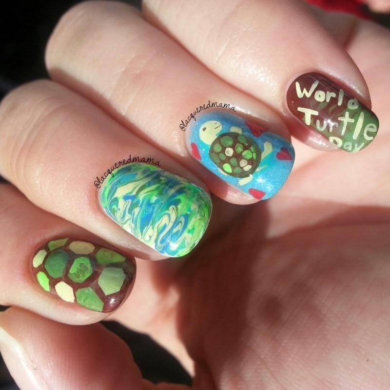 World Turtle Day nail art by Jennifer Collins