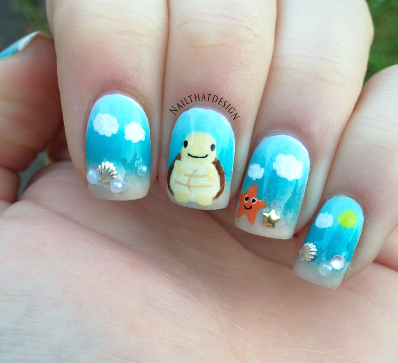 Quotesome Turtle on the Beach  nail art by NailThatDesign