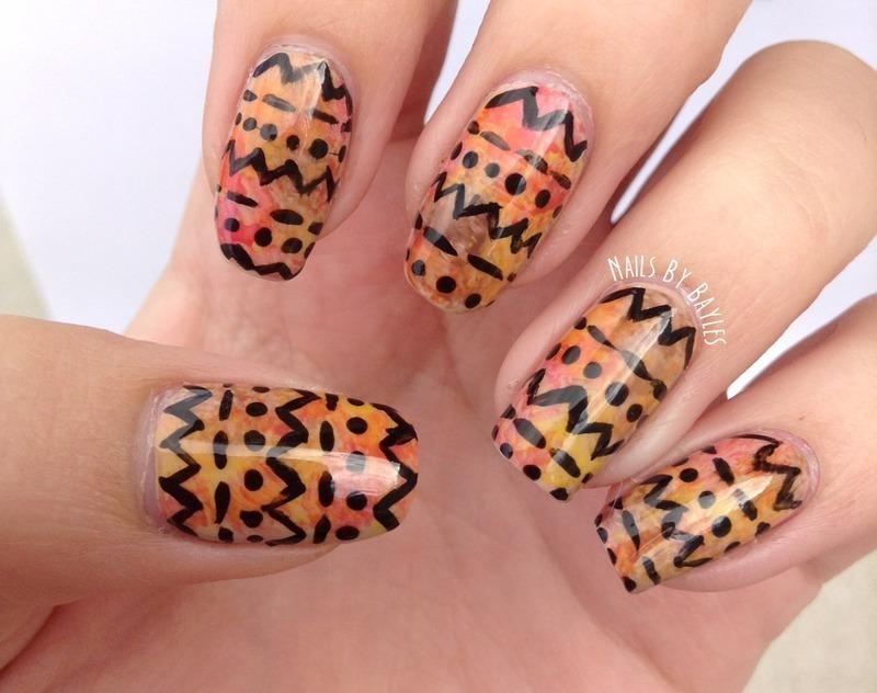 Watercolor Tribal Nail Art nail art by Baylie