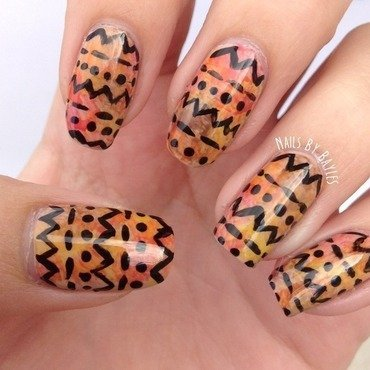 Watercolor Tribal Nail Art nail art by Baylie