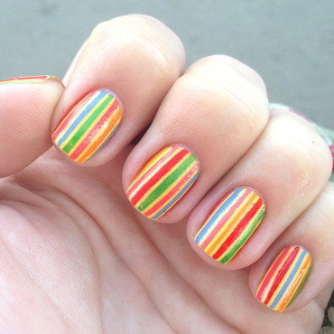 Beach towel nails nail art by Anna Malinina