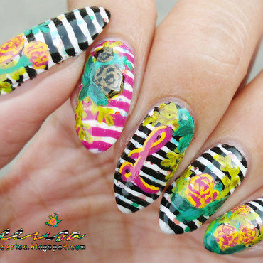Striped Floral Monogram Nails nail art by Lacqueerisa