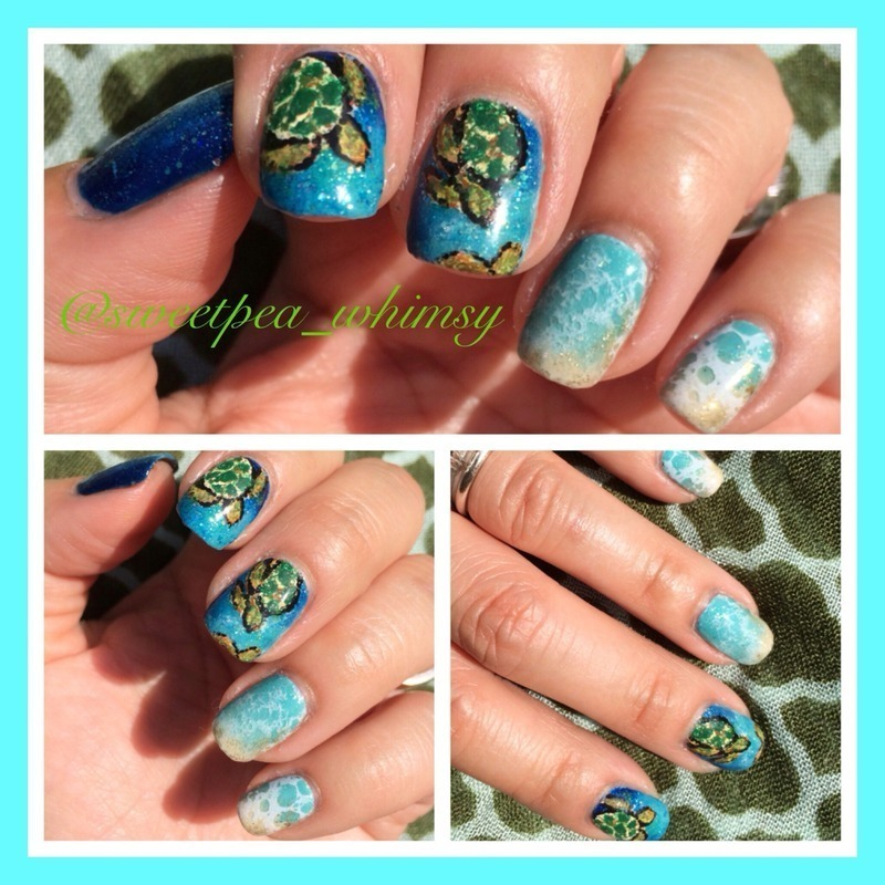 Sea Turtle Nail Art: Sea Turtles For World Turtle Day Nail Art By SweetPea