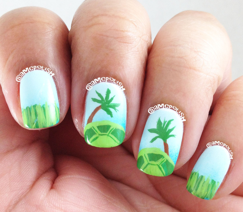 World Turtle Day nail art by Amber Connor