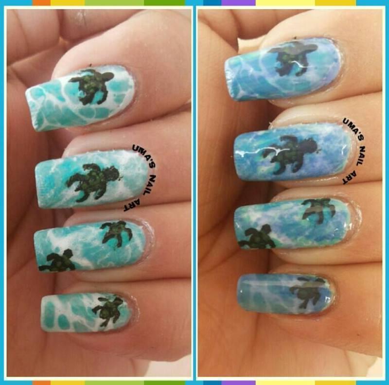Turtle at home.. nail art by Uma mathur