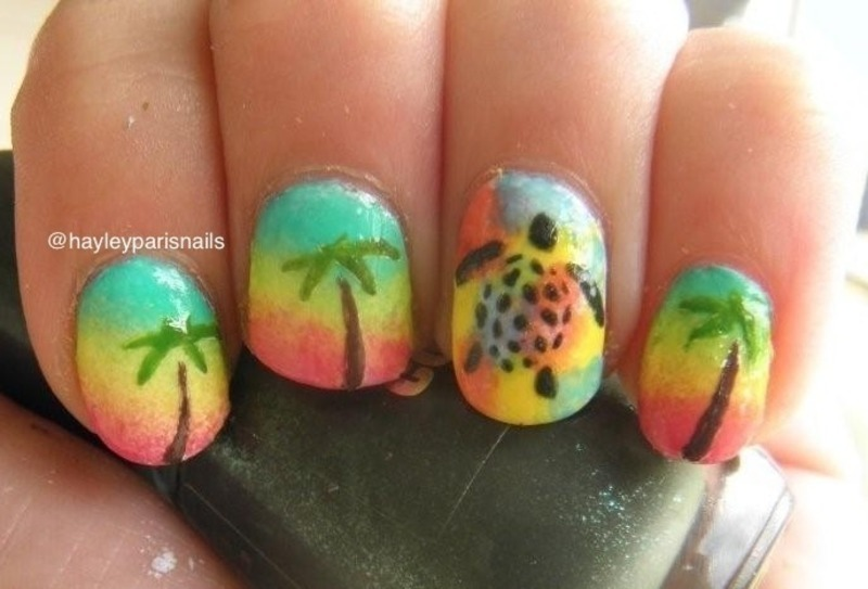 Tropical Turtle Nail Art nail art by Hayley
