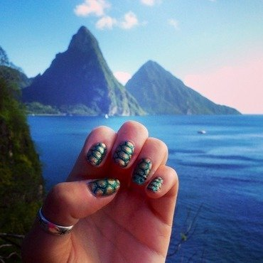 St Lucian Turtles nail art by Charlotte Speller