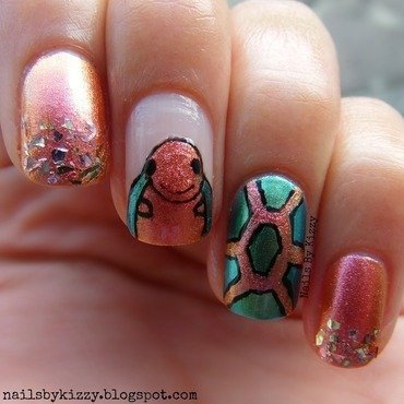 World Turtle Day nail art by Kizzy