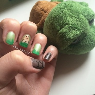 Turtle Lu nail art by Annienailz