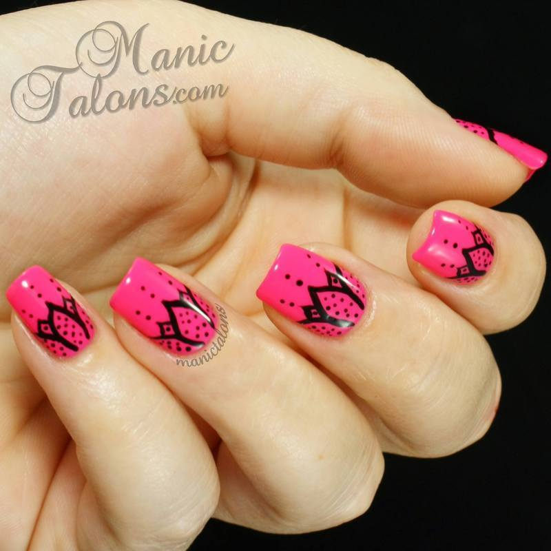 Black on Pink:  Abstract Flowers nail art by ManicTalons