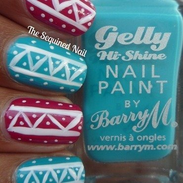 White Tribal Pop Art nail art by TheSequinedNail