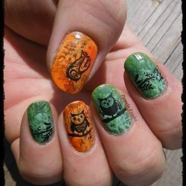 Hooting Owls nail art by Pamela Feader