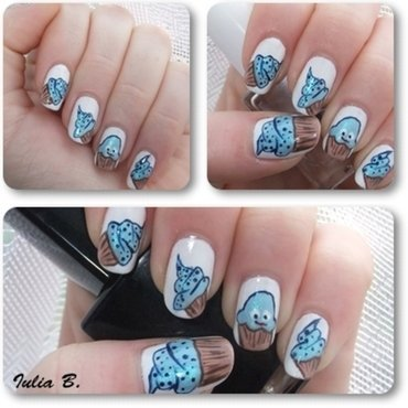 Blue cupcakes nail art by Iulia