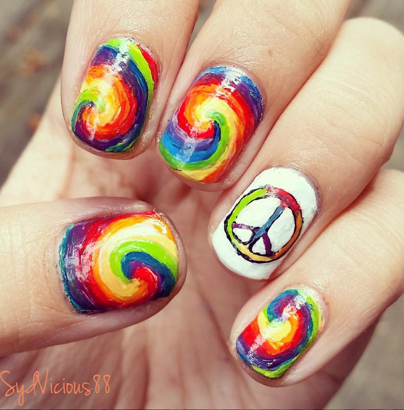 Rainbow peace nails nail art by SydVicious