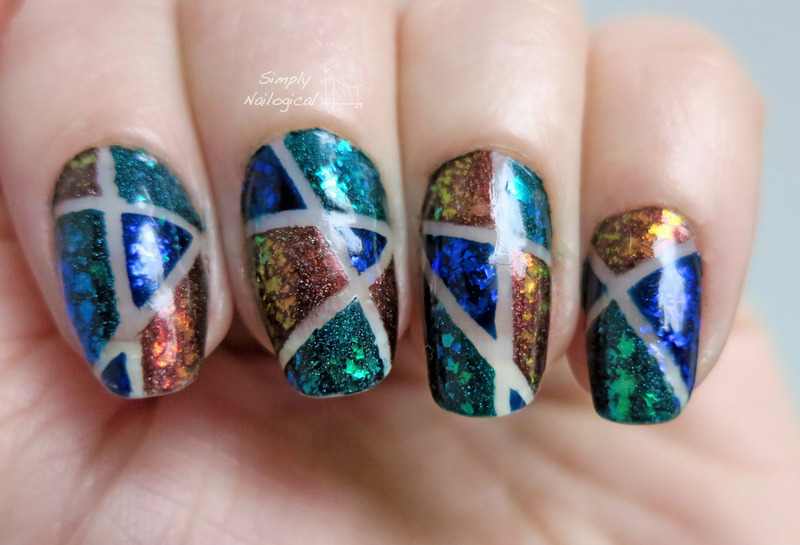 Broken glass flakies nail art by simplynailogical