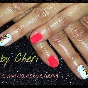 Summer flower on natural nails nail art by Cheri  Grachek