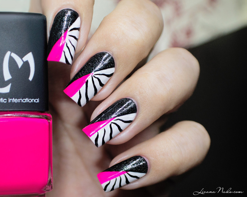 Twin Eternail Pink Black Zebra Nail Art By Lizana Nails
