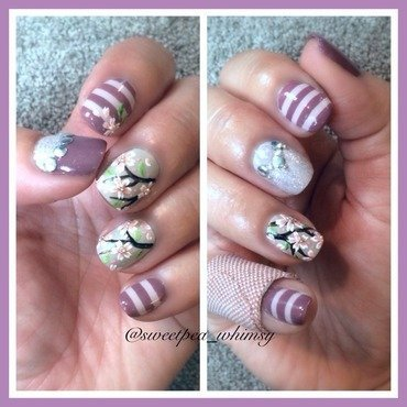 Lavender Stripes and Cherry Blossoms nail art by SweetPea_Whimsy