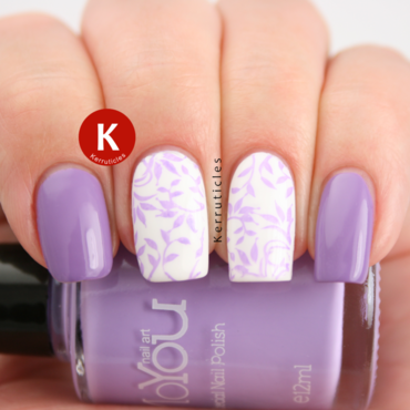 Lilac Stamped Floral/Leaves using MoYou Nails nail art by Claire Kerr