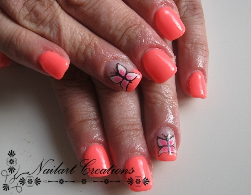 Neon Butterfly nail art by Nailart Creations