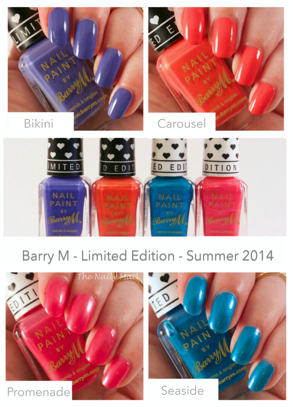 Barry M Bikini, Barry M Carousel, Barry M Promenade, and Barry M Seaside Swatch by The Naily Mail