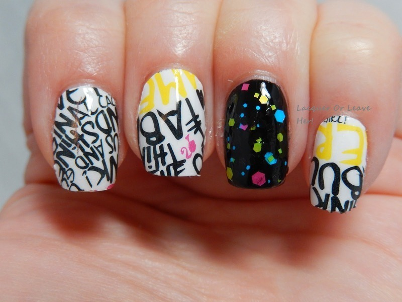 Urban skittle nail art by Lacquer or Leave Her! Michelle Chouinard