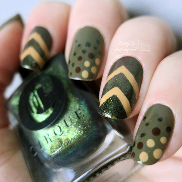 Earth-toned dotticure and chevrons nail art by simplynailogical