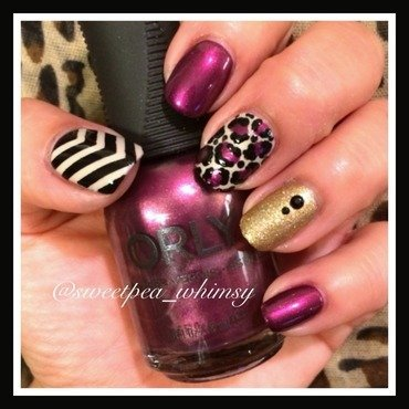Plum Wine and Leopard Print nail art by SweetPea_Whimsy